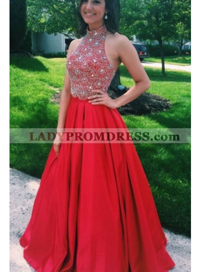New Arrival Princess/A-Line Satin Red Beaded Prom Dresses