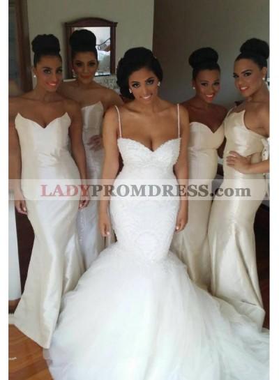 2021 Elegant Mermaid White Satin Strapless Long Bridesmaid Dresses / Gowns