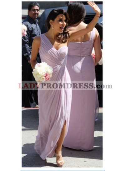 2019 Cheap A Line Lavender One Shoulder Chiffon Ruffles Long Bridesmaid Dresses / Gowns