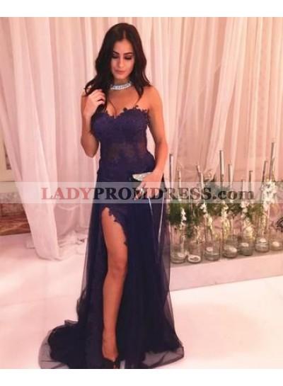 2021 Sexy Purple Column/Sheath Sweetheart Side Slit Prom Dresses
