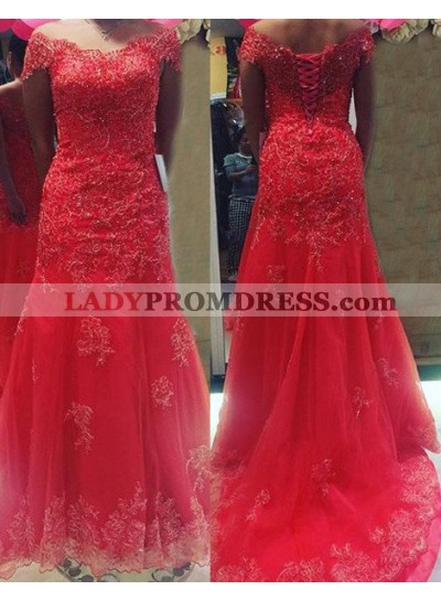 2019 Gorgeous Red Off-the-Shoulder Appliques Lace Up Tulle Prom Dresses