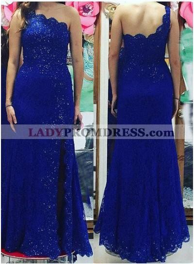 LadyPromDress 2019 Blue One Shoulder Backless Beading Mermaid/Trumpet Lace Prom Dresses