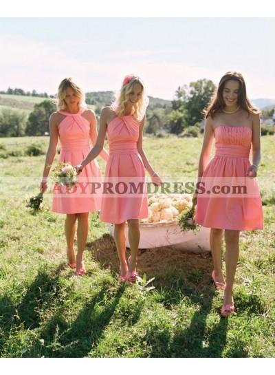 2021 Cheap A Line Satin Orange Halter Knee Length Bridesmaid Dresses / Gowns