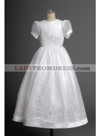 2019 Lovely White Short Sleeves Round Applique Scoop Neck Actual Fist Communion Dress  / Flower Girls Dresses