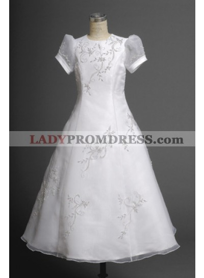 2020 Elegant Embroider Short Sleeves Floor-Length First Communion Dresses / Flower Girl Dresses