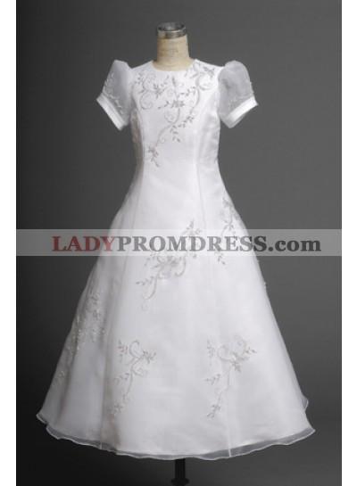 2021 Elegant Embroider Short Sleeves Floor-Length First Communion Dresses / Flower Girl Dresses
