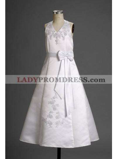 2020 Appealing Satin Halter Applique Long Actual First Communion Dresses / Flower Girl Dresses