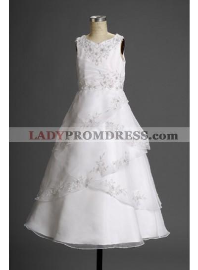 Charming Latest Straps Layered  V-neck Empire Waist Applique Actual First Communion Dresses