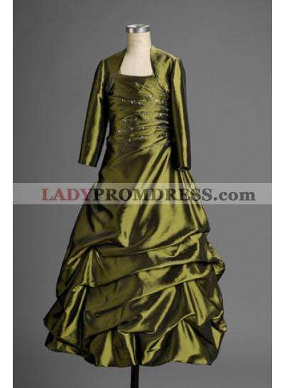 2019 Vintage A-line Taffeta Ruffled Applique Coat Floor Length Hot Flower Girl Gowns / Dresses