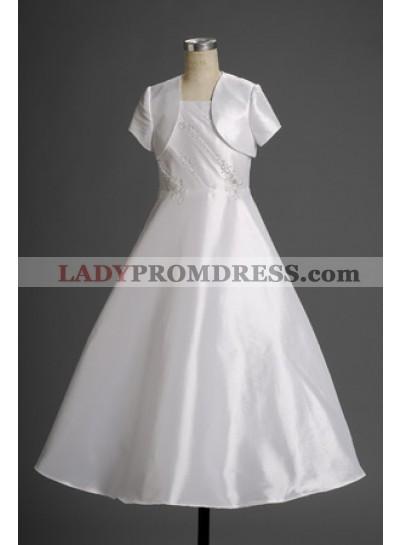 2020 Gentle A-line Satin Applique Floor Length Actual First Communion Dresses