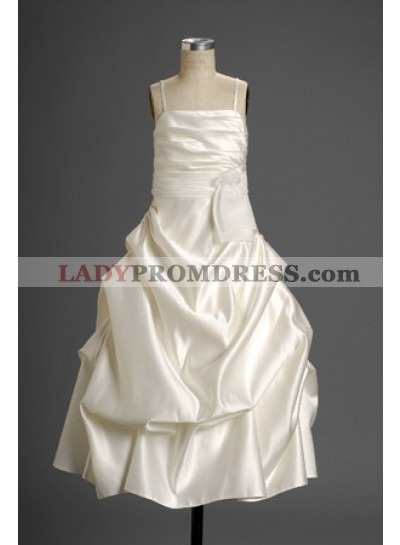 Cute Spaghetti Straps A-line Taffeta Ruffled  Actual First Communion Dresses