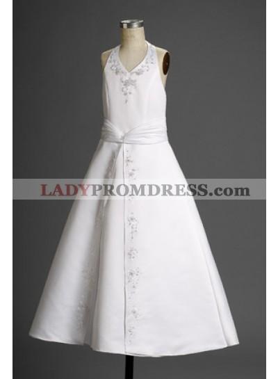 Stunning A-line Satin Halter Applique Floor Length  2021 First Communion Dresses / Flower Girl Dresses