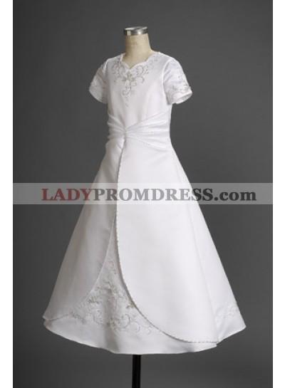 2020 Scalloped-edge Neck Applique White Elegant Short Sleeves First Communion Dresses