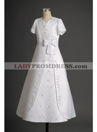 2020 Tempting White Hot Sale Satin Short Sleeves Actual First Communion Dresses