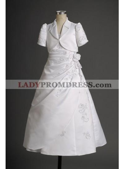 Refined White Princess Applique Floor Length Actual First Communion Dresses