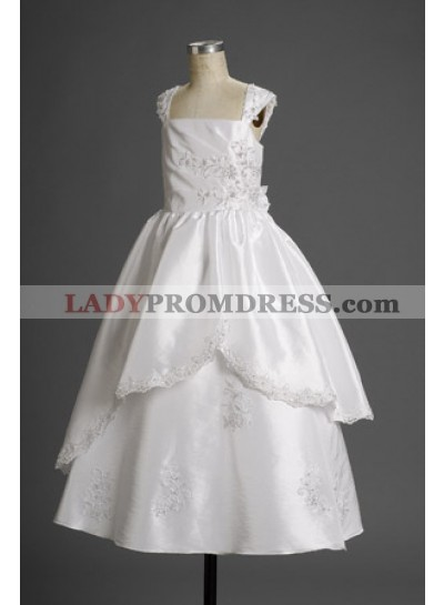 2019 Flattg A-line Taffeta White Applique Charming Actual Flower Girl Dresses / First Communion Dresses