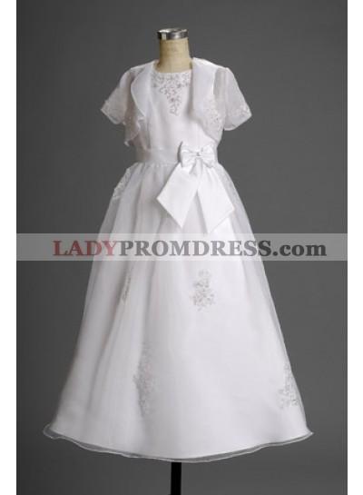 2021 Vogue Fashion Latest Short Sleeves Applique Floor Length Flower Dress  / First Communion Dresses