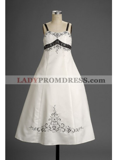 Sexy Fashion Satin Spaghetti Straps Embroidery Floor Length Hottest First Communion Dresses