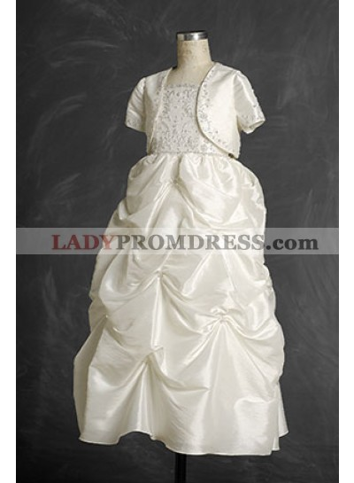 2019 New Style Princess Taffeta Floor Length Applique Hot Sale First Communion Gown / Dresses