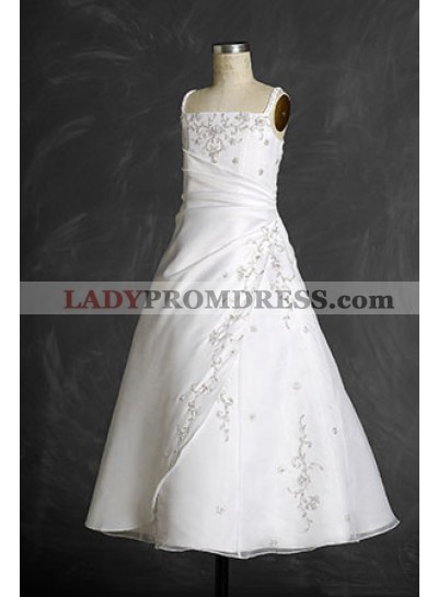 Funky Straps Lovely Applique A-line Pleated Empire Waist Floor Length First Communion Dresses