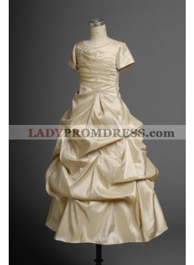 2020 Glamorous Champagne Short Sleeves Taffeta A-line Pleated Floor Length First Communion Dresses