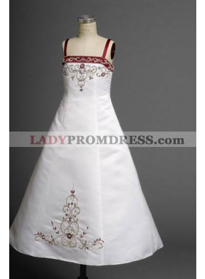 2020 Ethereal Sassy A-line Straps  Embroider Floor Length First Communion Dresses