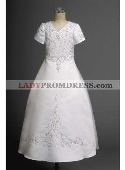 Cute Hottest V-neck A-line Short Sleeves Satin Actual First Communion Dresses