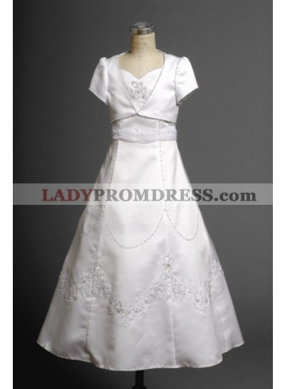 2019 Satin Seductive Flower Girl Dress Floor Length A-line Applique  First Communion Dresses