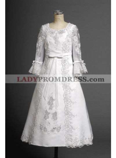 Luxurious White Long Sleeves Lace Applique Long Actual First Communion Dresses