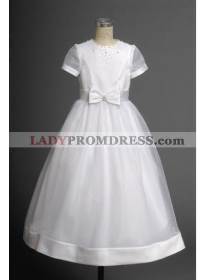 Cost-efficient Cheap Cute Short Sleeves A-line Organza Hottest Flower Girl Dress 2020