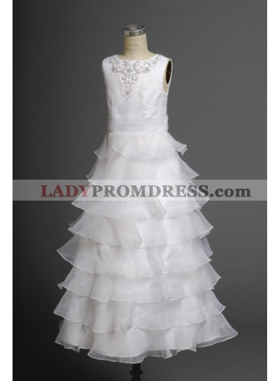 Beautiful Latest Layered Organza Applique Long Actual First Communion Dresses