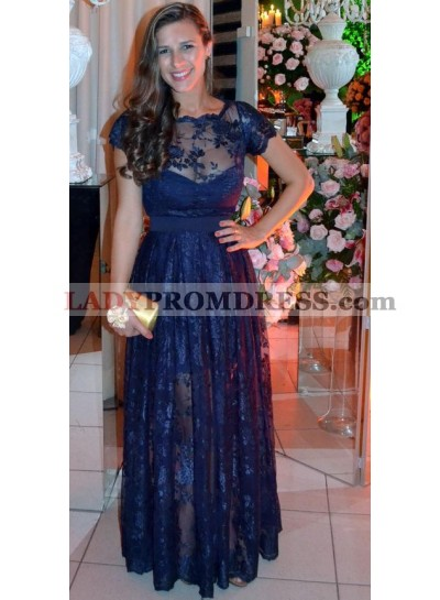 Navy Blue Sweetheart Lace Floor Length Prom Dresses