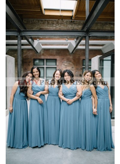 2021 Newly A Line Chiffon V Neck Bridesmaid Dresses