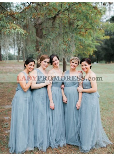 2021 A Line Tulle One Shoulder Blue Bridesmaid Dresses