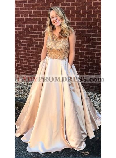 2019 Siren Satin Champagne Princess/A-Line Prom Dresses