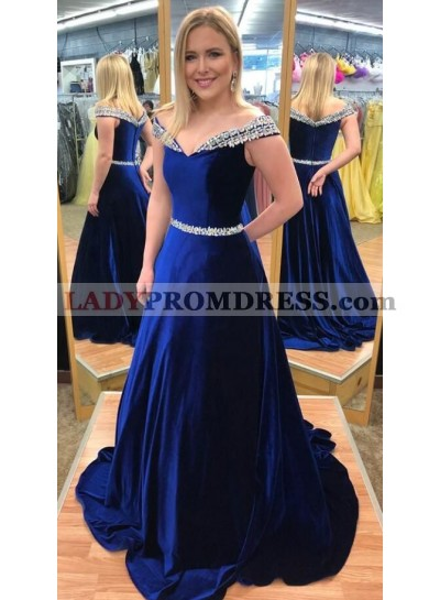 Royal Blue Satin Sweetheart Prom Dresses