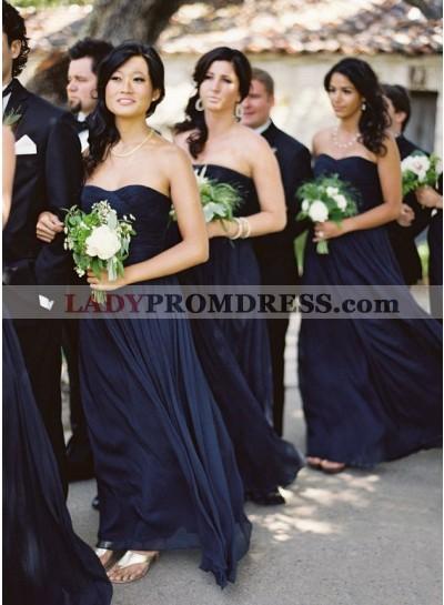 2021 Cheap A Line Dark Navy Chiffon Strapless Long Bridesmaid Dresses / Gowns