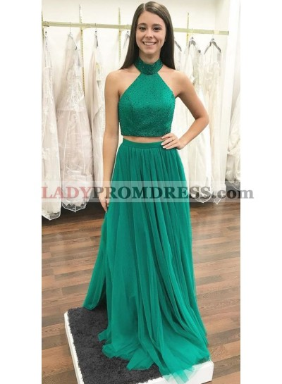 Jade Tulle Two Pieces Jewel Prom Dresses