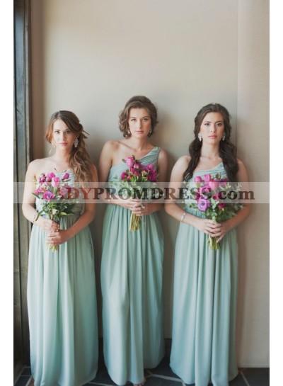 2021 One Shoulder A Line Chiffon Long Bridesmaid Dresses