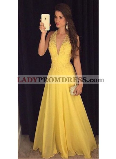 2020 Elegant Princess/A-Line Chiffon V-neck Daffodil Prom Dresses