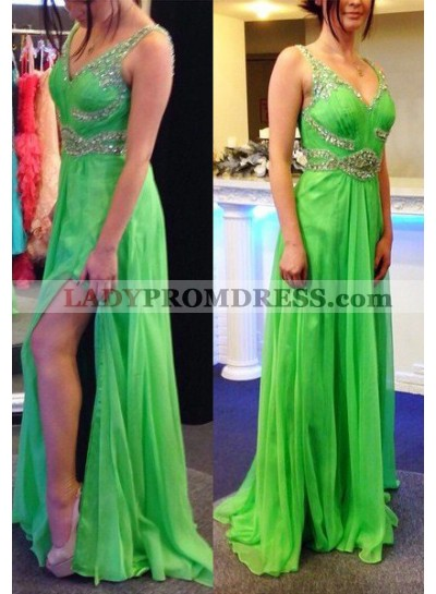 High Slit Crystal Detailing A-Line/Princess Chiffon Prom Dresses