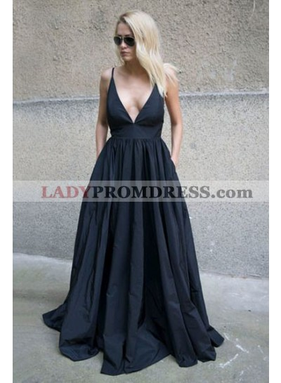 2019 Siren Princess/A-Line Satin Sweetheart Prom Dresses Black