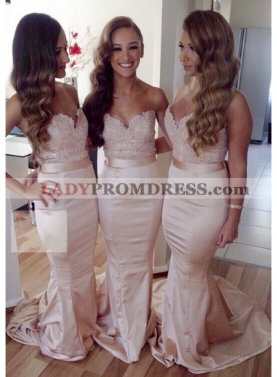 2021 Sexy Sheath/Column Satin Pearl Pink Sweetheart Lace Long Bridesmaid Dresses / Gowns