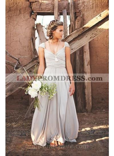 2021 Cheap A Line Chiffon Silver Sweetheart Floor Length Bridesmaid Dresses / Gowns