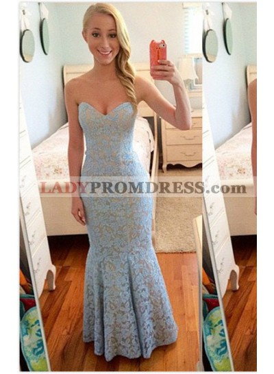 Light Blue Sweetheart Mermaid/Trumpet Lace Prom Dresses