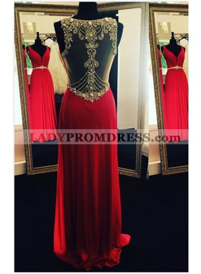 2018 Gorgeous Red Beading Sheer Back Prom Dresses