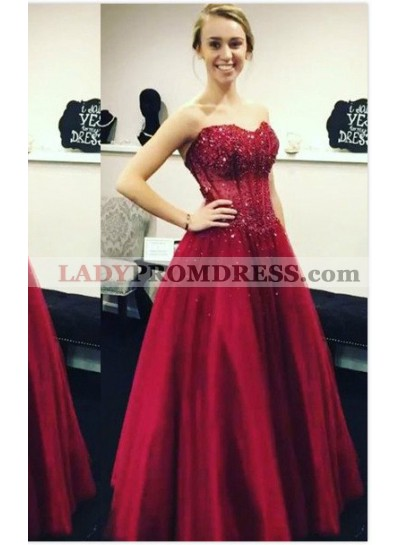 2020 Gorgeous Red Appliques Sweetheart Ball Gown Satin Prom Dresses