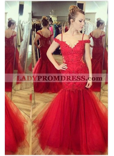 2018 Gorgeous Red Appliques Floor-Length/Long Mermaid/Trumpet Tulle Prom Dresses