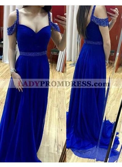 Royal Blue Beading Straps Stretch Satin Prom Dresses