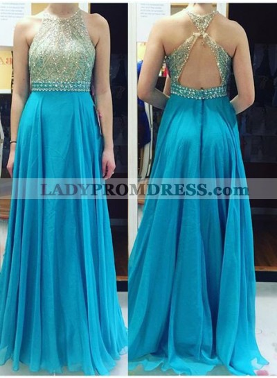 LadyPromDress 2019 Blue Backless Crystal A-Line/Princess Chiffon Prom Dresses